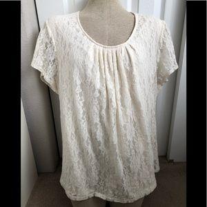 Liz & Me Platinum Collection ivory lace blouse
